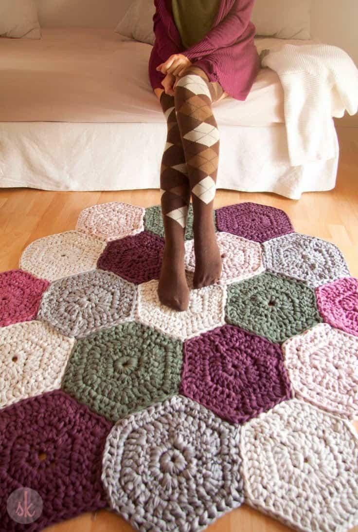 tapete de croche colorido
