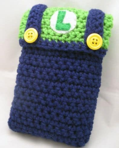 case-para-celular-ou-nintendo-ds-de-croche-do-luigi